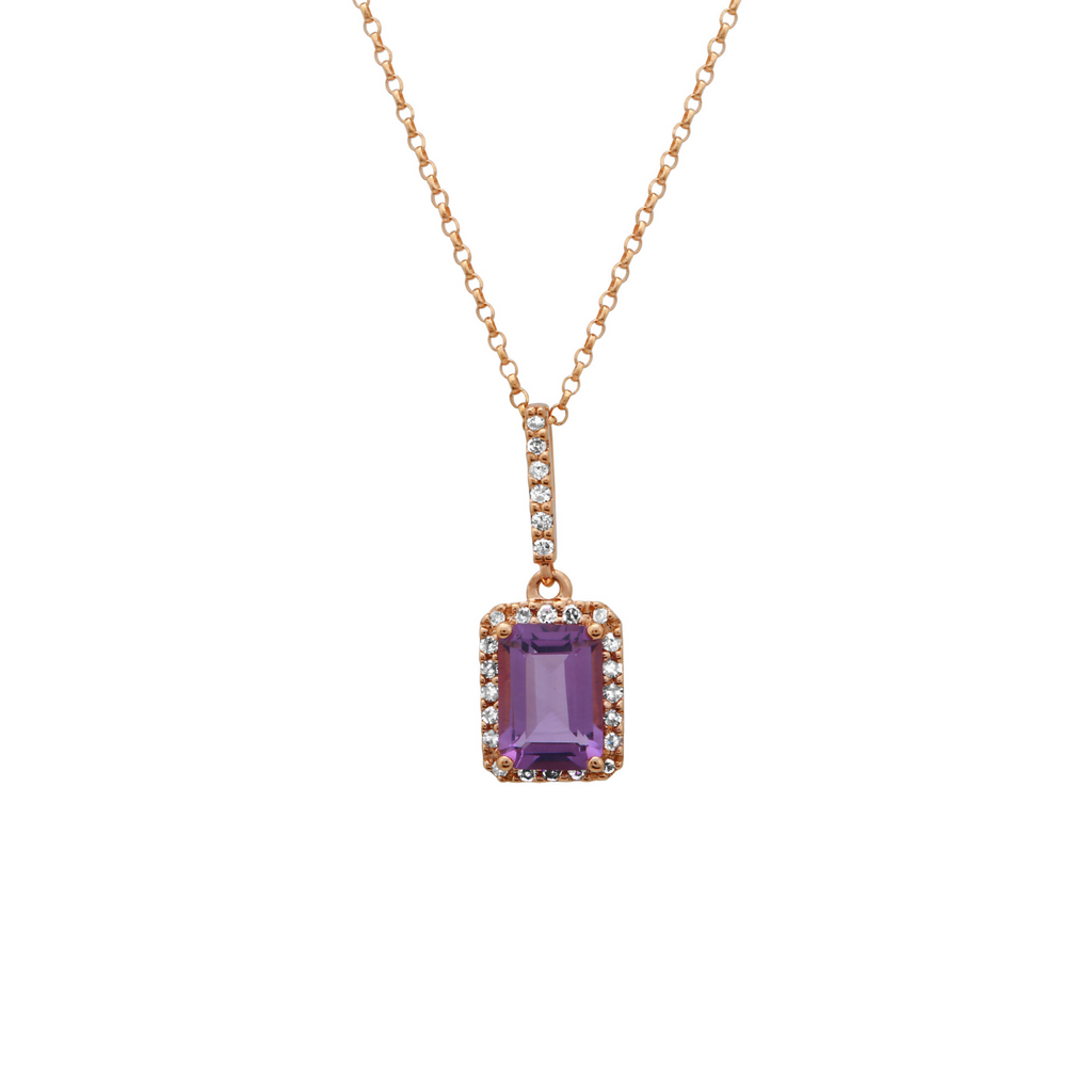 14k Rose Gold Amethyst Diamond Emerald Cut Halo Pendant Necklace (1/10 cttw, I-J Color, I2-I3 Clarity), 16""
