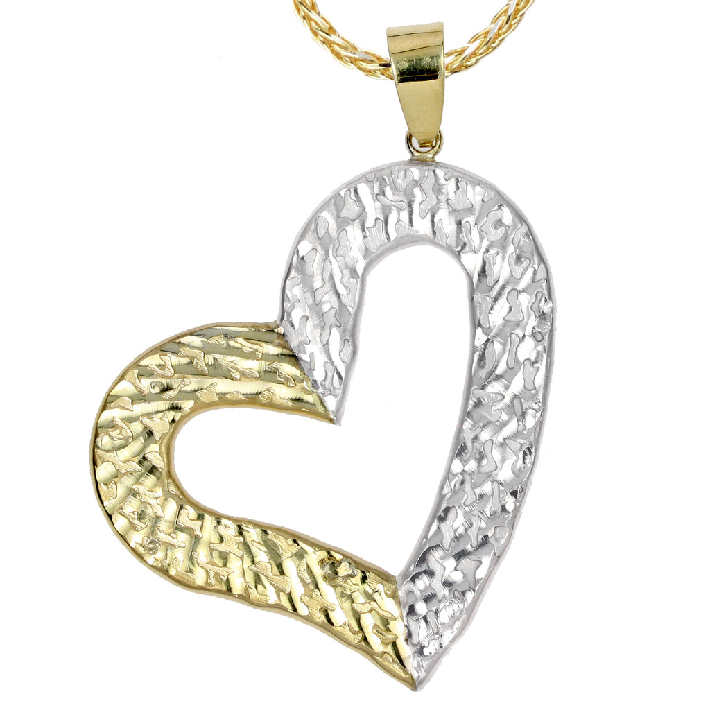 14k Gold-Bonded Sterling Silver Two-Tone Half Tilted Heart Pendant Necklace, 16""
