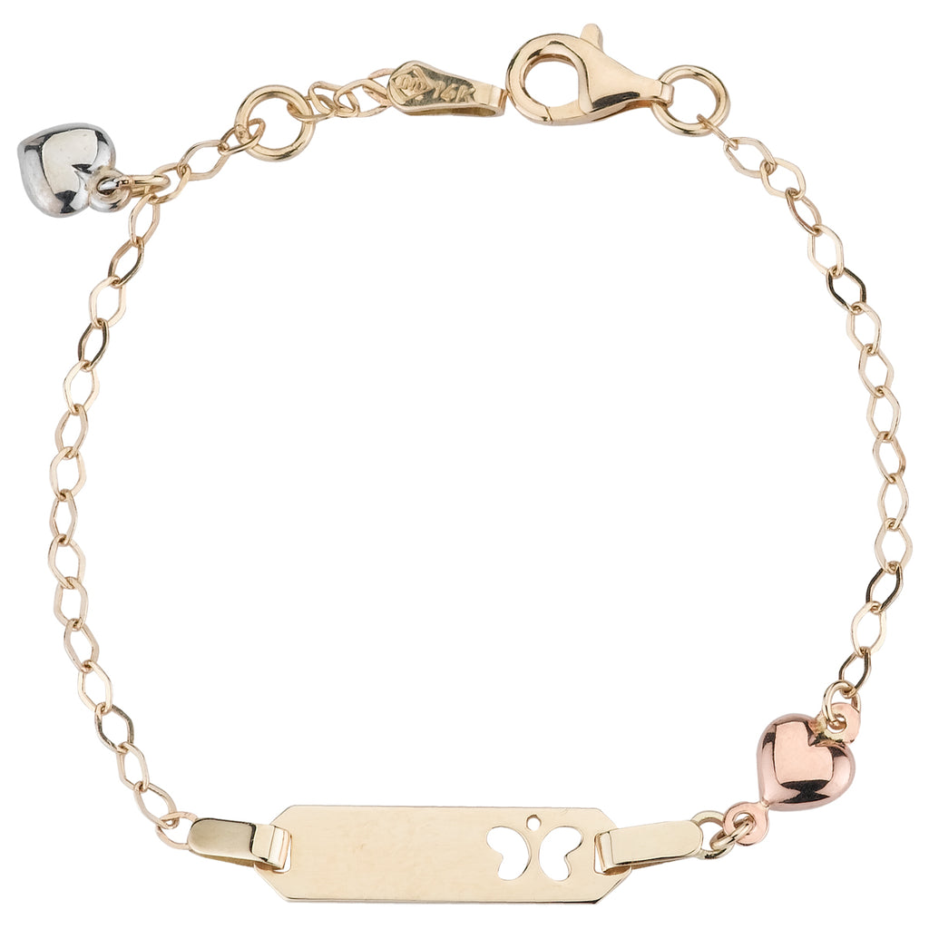 14k Tri-Color Gold Heart Charm Butterfly Baby ID Rolo Bracelet, 6""