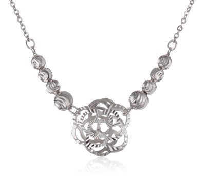 "14k Gold Diamond-Cut Graduated Flower Pendant Necklace, 18"" - Bee Jewels"