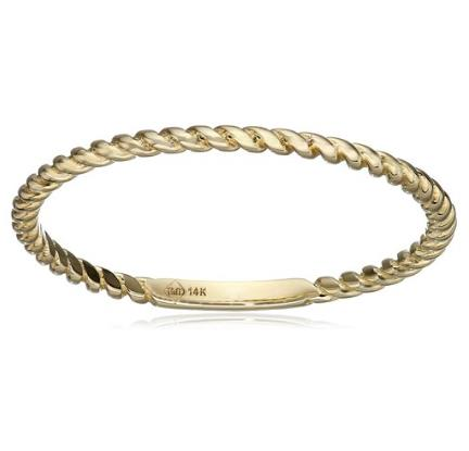 14k Gold Rope Stackable Ring, Size 7 - Bee Jewels
