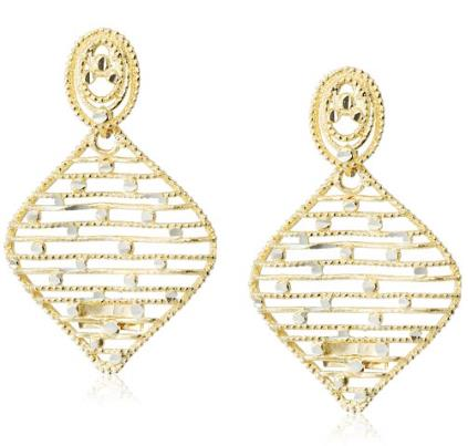 14k Two-Tone Gold Italian Raised Design Dangle Drop Earrings