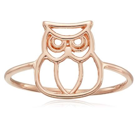 14k Gold Italian Owl Ring - Bee Jewels