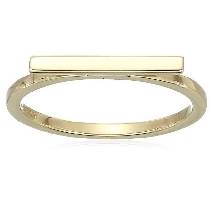 14k Yellow Gold Bar Ring - Bee Jewels