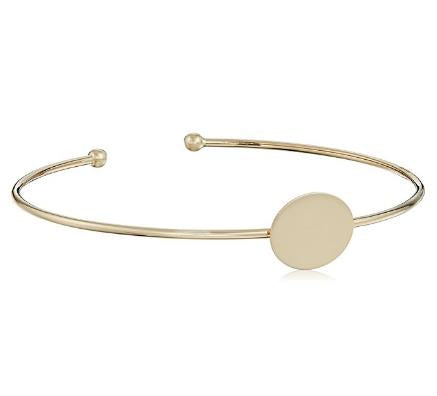 14k Yellow Gold Engraveable Cuff Bangle Bracelet - Bee Jewels