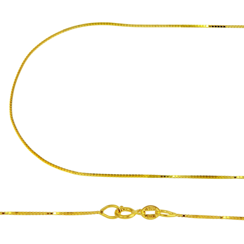 Women's 14k Yellow Gold .6mm Box Chain Necklace