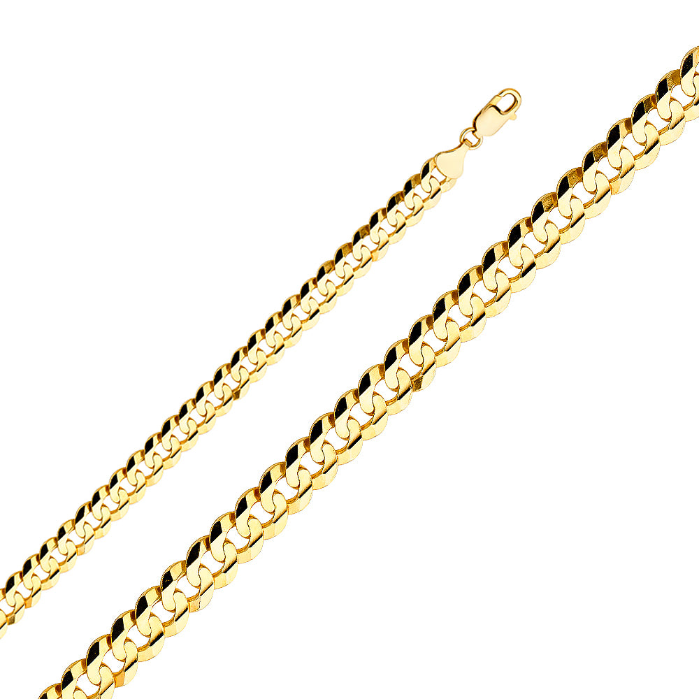 Men's 14k Yellow Gold 9.6mm Cuban Curb Light Chain Necklace, 22-30""