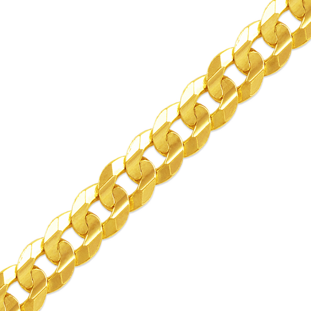 Men's 14k Yellow Gold 8.3mm Cuban Curb Light Chain Necklace, 22-30""