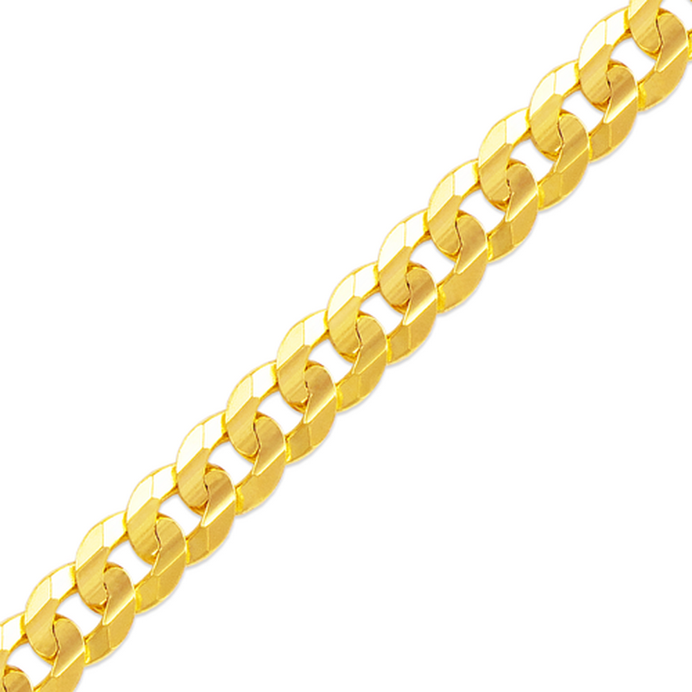 Men's 14k Yellow Gold 7.2mm Cuban Curb Light Chain Necklace, 22-30""