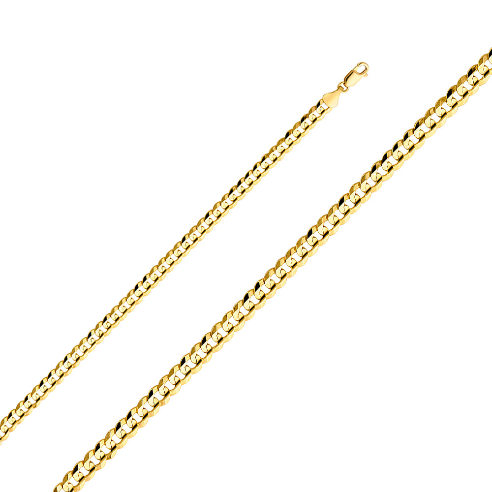 Men's 14k Yellow Gold 6.0mm Cuban Curb Light Chain Necklace, 22-30""