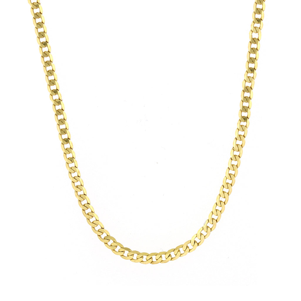 Men's 14k Yellow Gold 3.9mm Cuban Curb Light Chain Necklace, 16-26""