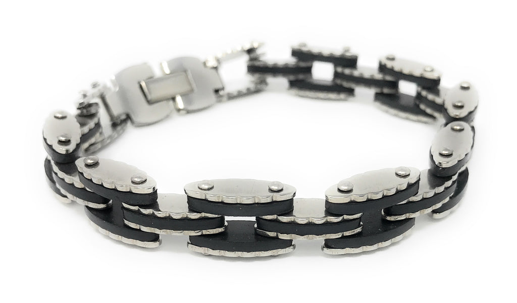 Men's Black and Stainless Steel Link Bracelet, 8.25""
