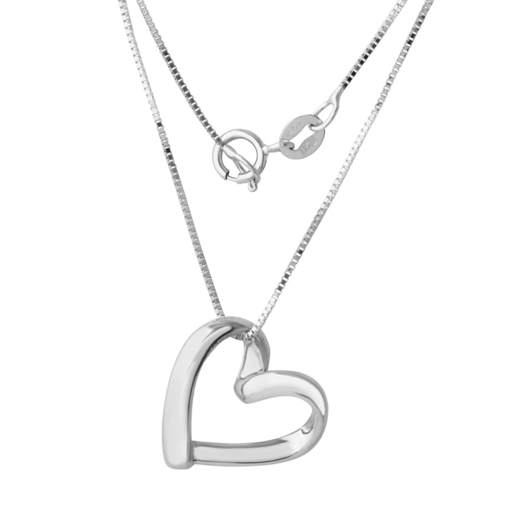"14k Gold Open Heart Pendant Box Chain Necklace, 18"" - Bee Jewels"
