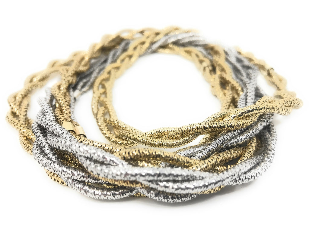 Sterling Silver Flexible Mesh Gold Single Strand Layering Necklace
