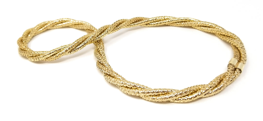 Sterling Silver Flexi-Mesh Triple Strand Gold Layering Necklace