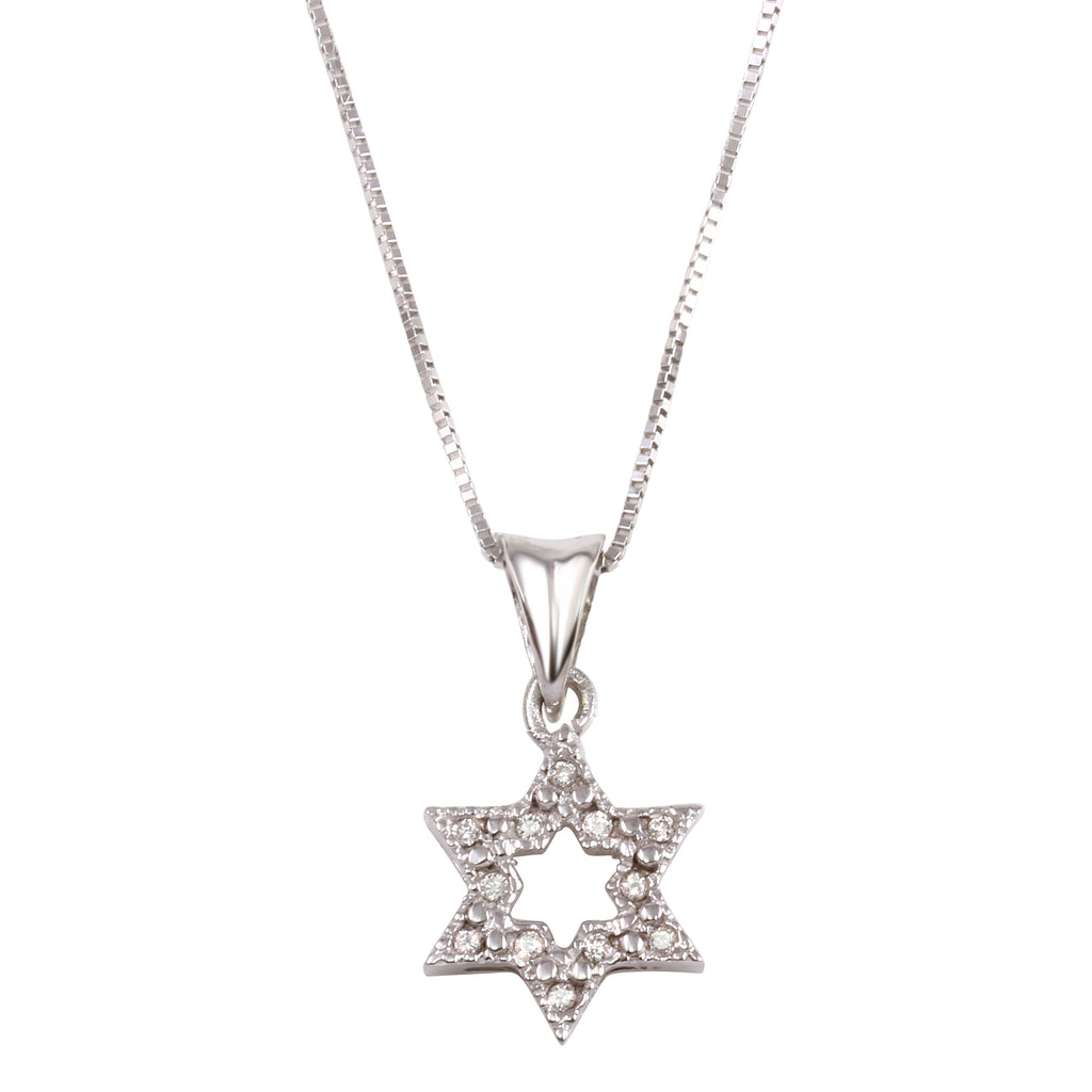 Women's 14k White Gold Diamond Star of David Pendant Necklace, 16""