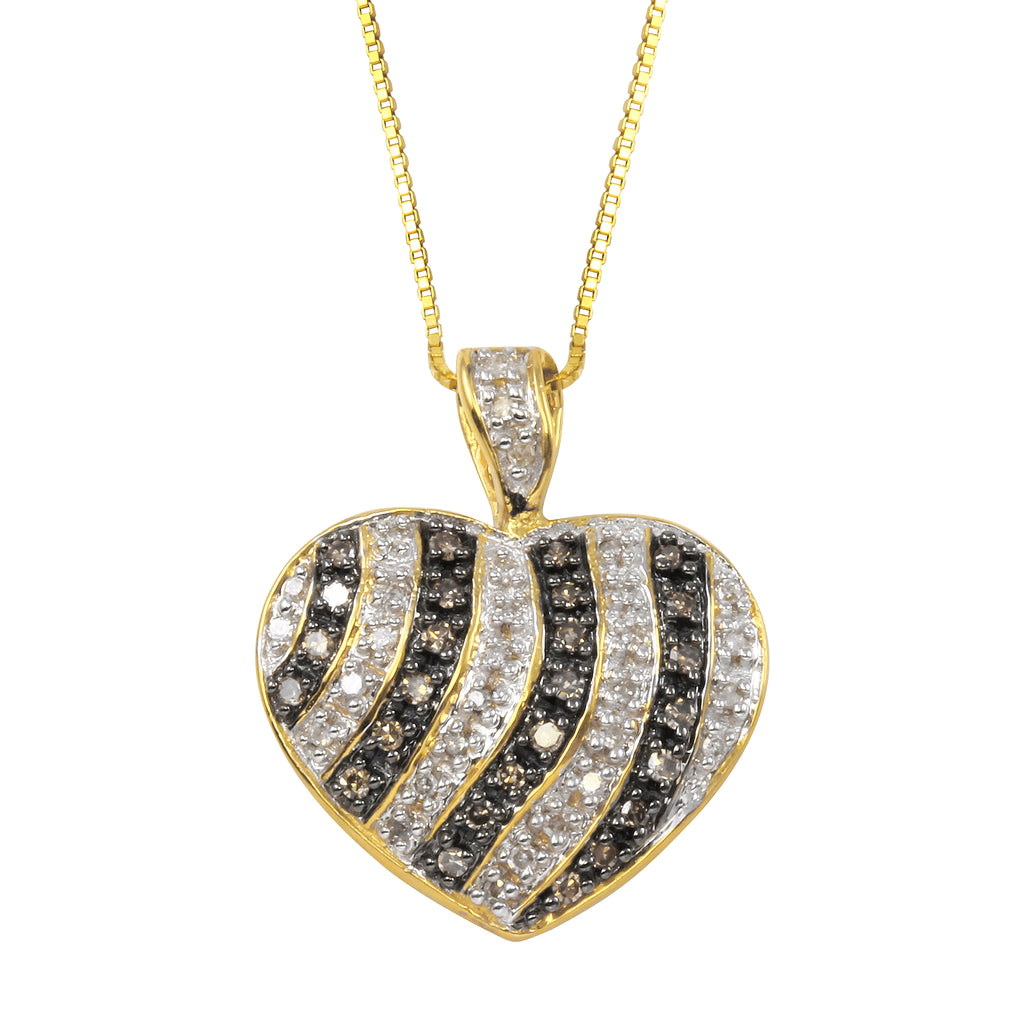Women's 14k Yellow Gold Diamond Heart Pendant Necklace, 16""