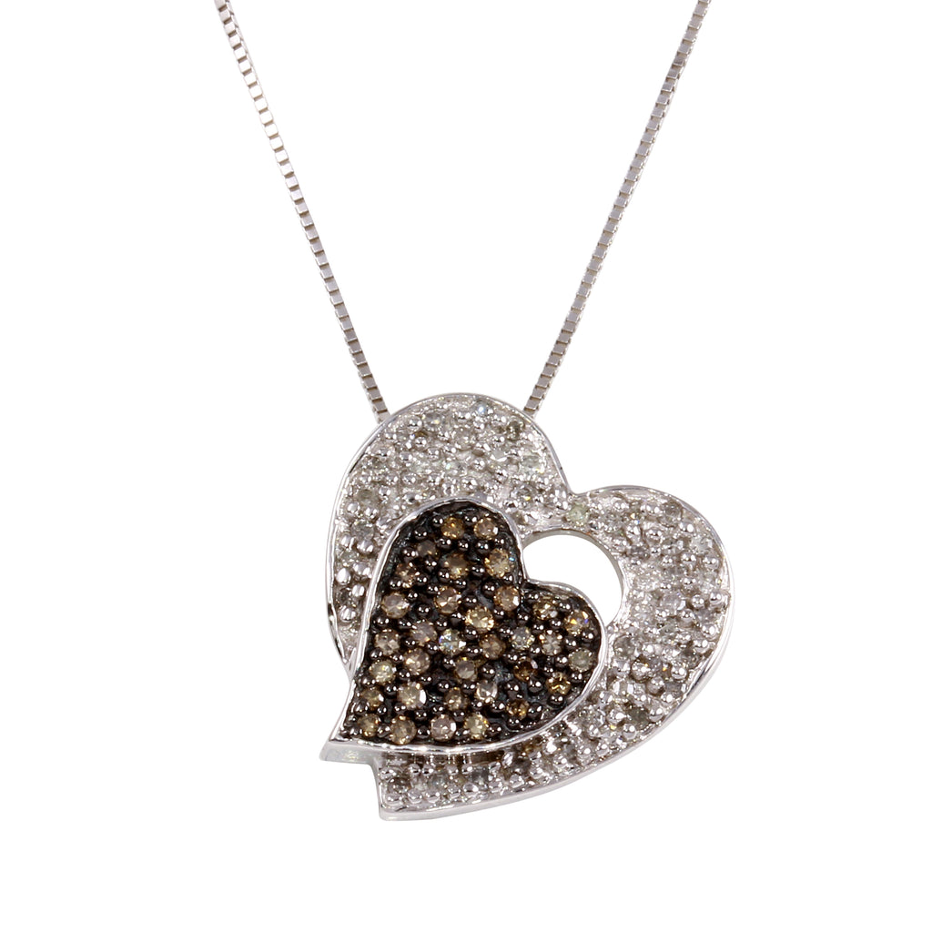 Women's 14k White Gold Diamond Double Heart Pendant Necklace, 16""
