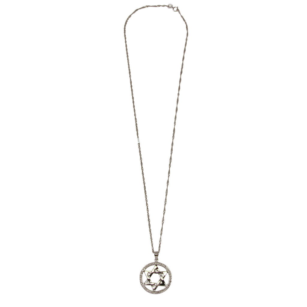Women's 14k White Gold Diamond Star of David Circle Pendant Necklace, 16""