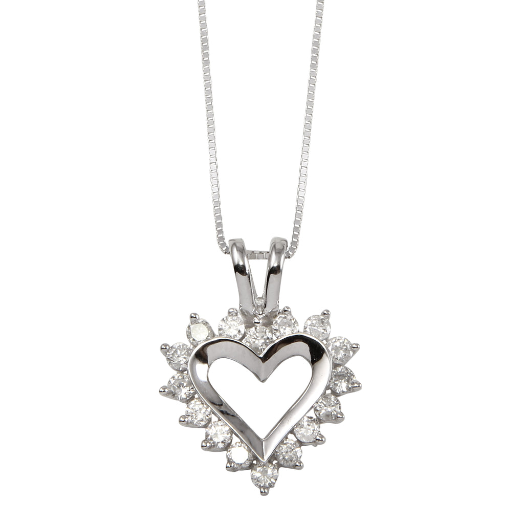 Women's 14k White Gold Diamond Heart Pendant Necklace, 16""