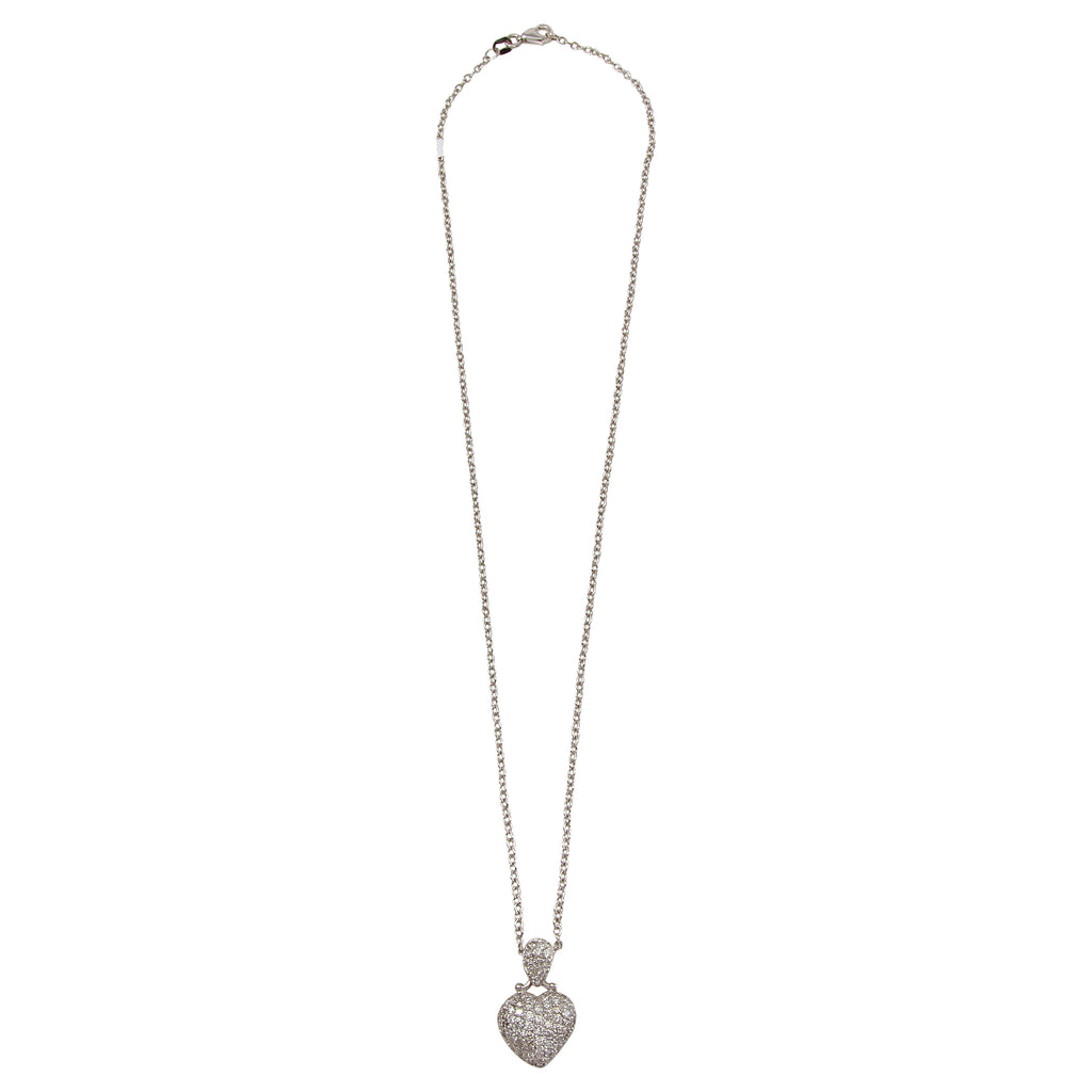 Women's 14k White Gold Diamond Puffy Heart Pendant Necklace, 16""