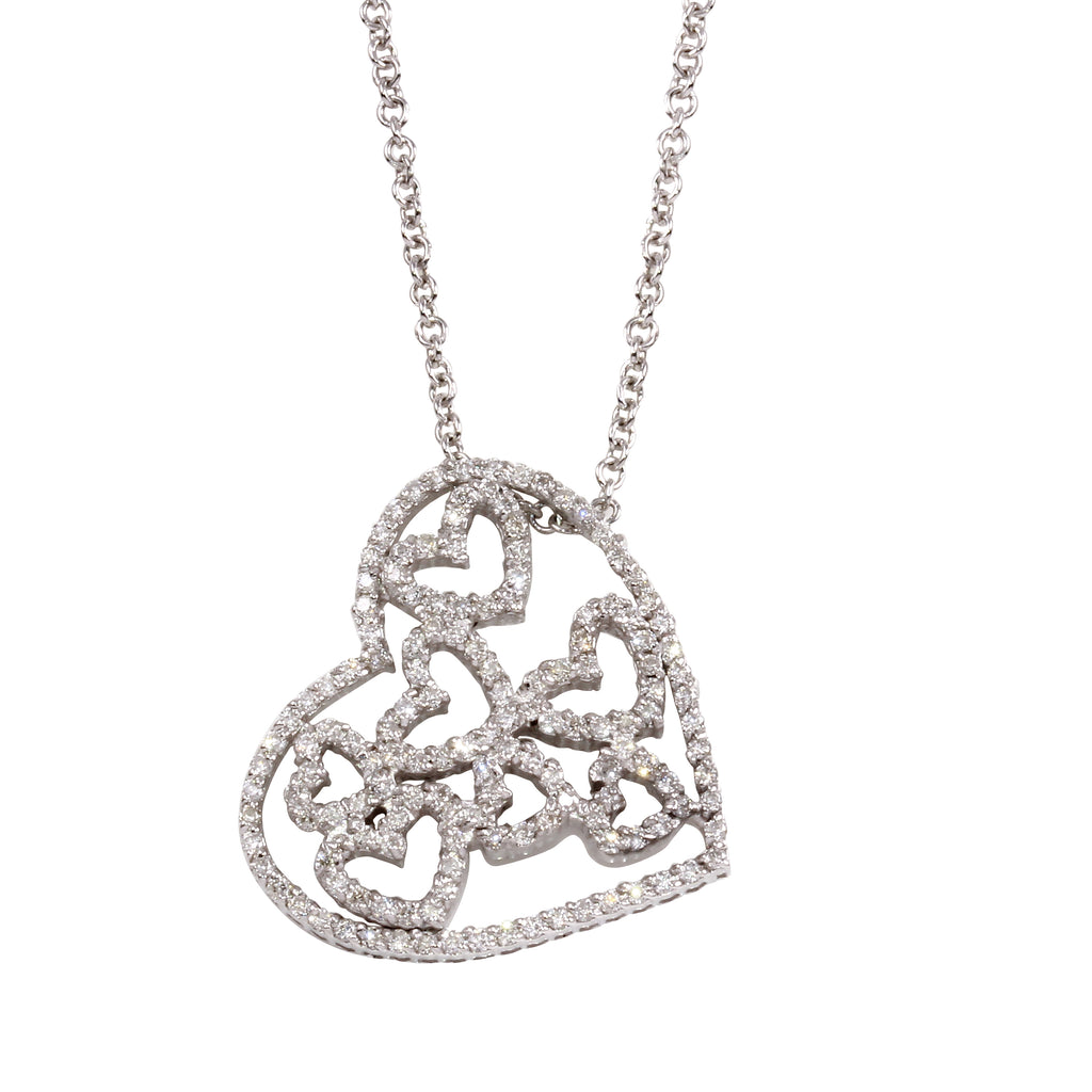 Women's 14k White Gold Diamond Hearts Pendant Necklace, 16""