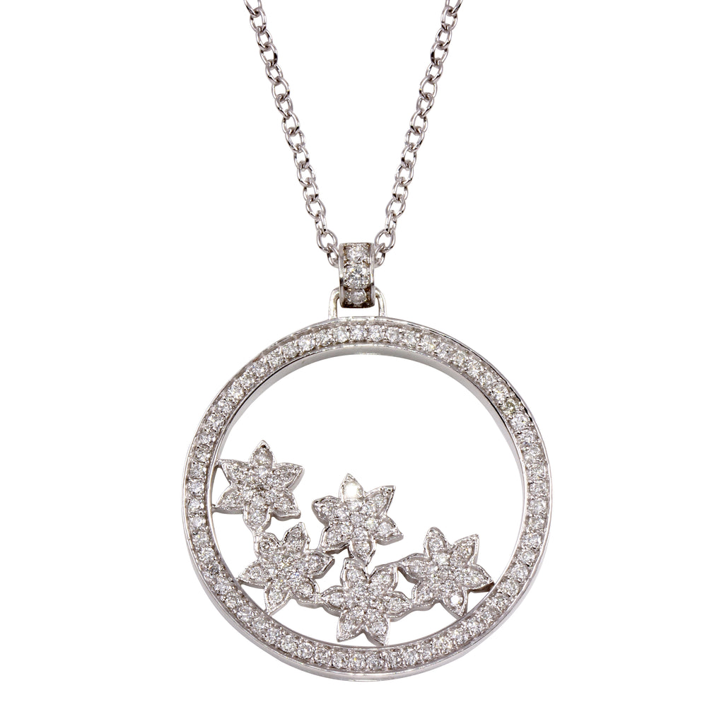 Women's 14k White Gold Diamond Open Circle Flower Pendant Necklace, 16""