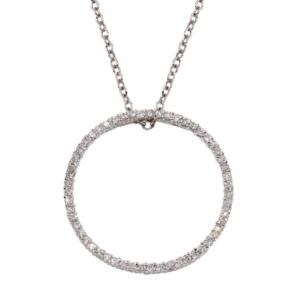 14k White Gold Diamond Circle Pendant Necklace, 16""