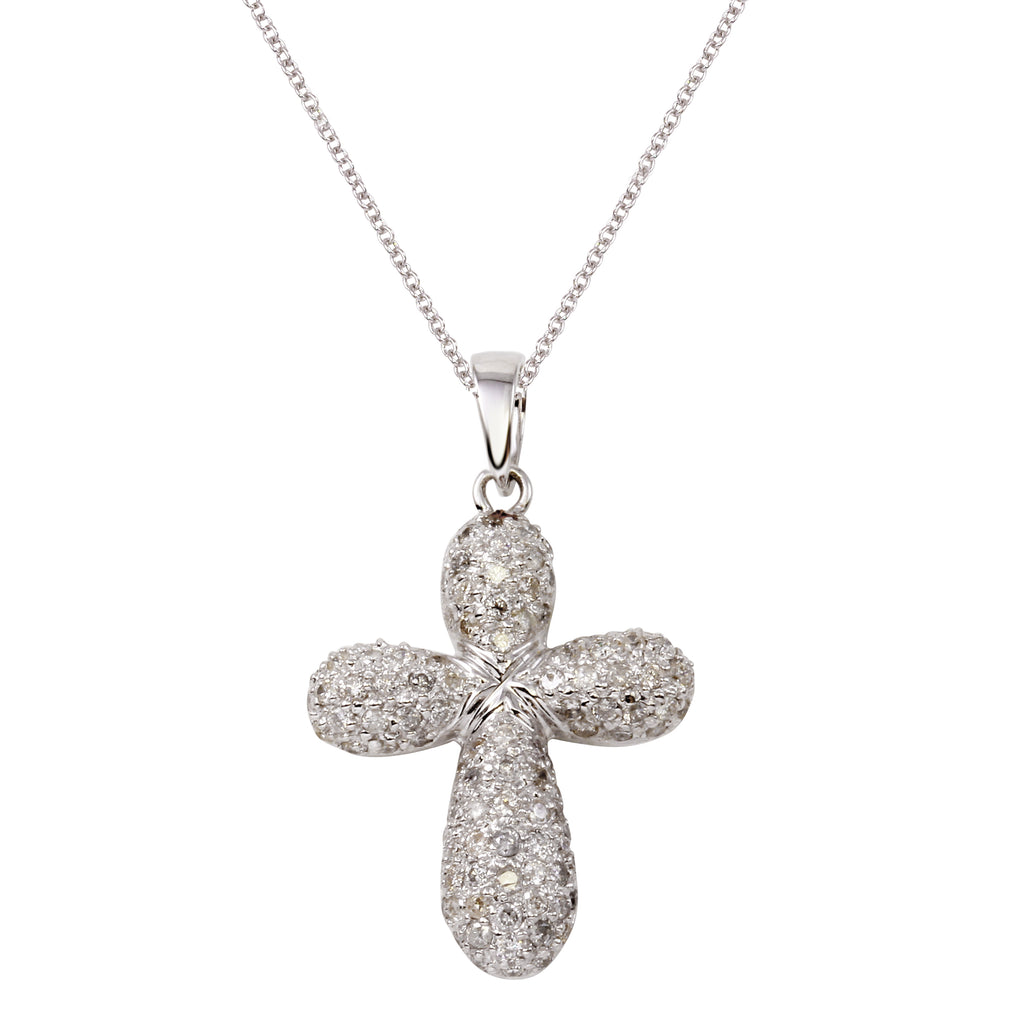 Women's 14k White Gold Diamond Cross Crucifix Pendant Necklace, 16""
