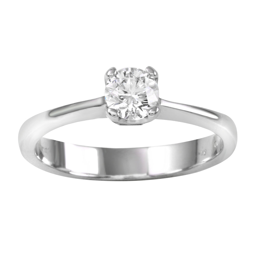 14k White Gold Solitaire Diamond Wedding Engagement Ring SIZE 6.25