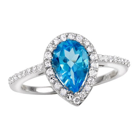 14k White Gold Blue Topaz Pear Diamond Engagement Ring