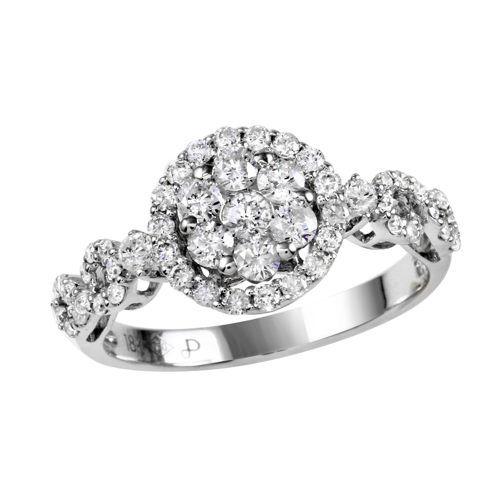 Women's 18k White Gold Round Diamond Engagement Wedding Ring SIZE 7