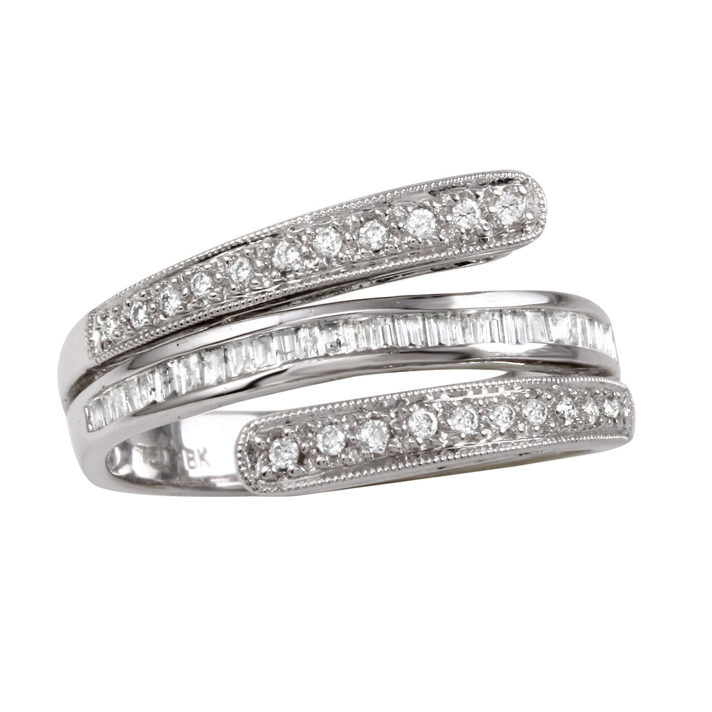 Women's 18k White Gold Round Baguette Diamond Ring SIZE 5.5