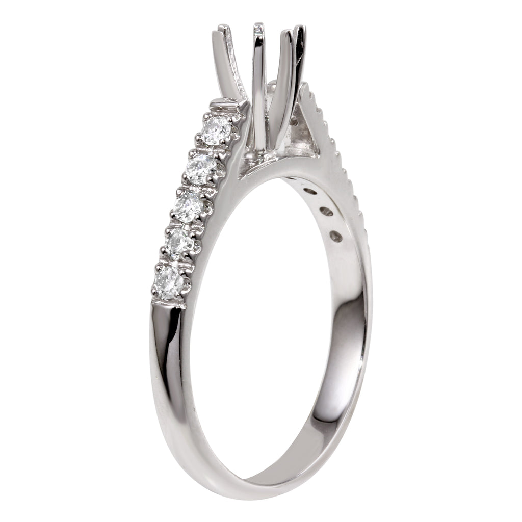 14k White Gold Diamond Semi-Mount Engagement Ring SIZE 7