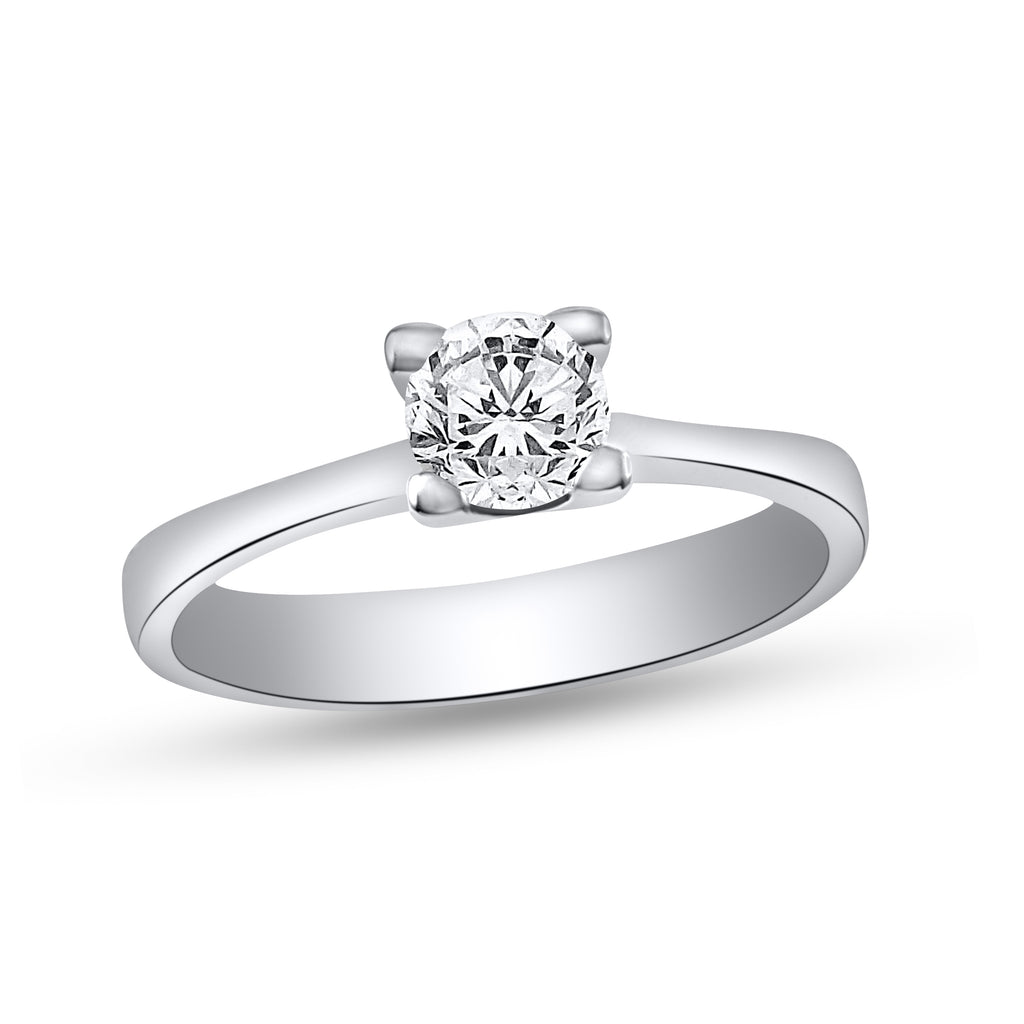 14k White Gold Diamond Solitaire Engagement Ring SIZE 6.5