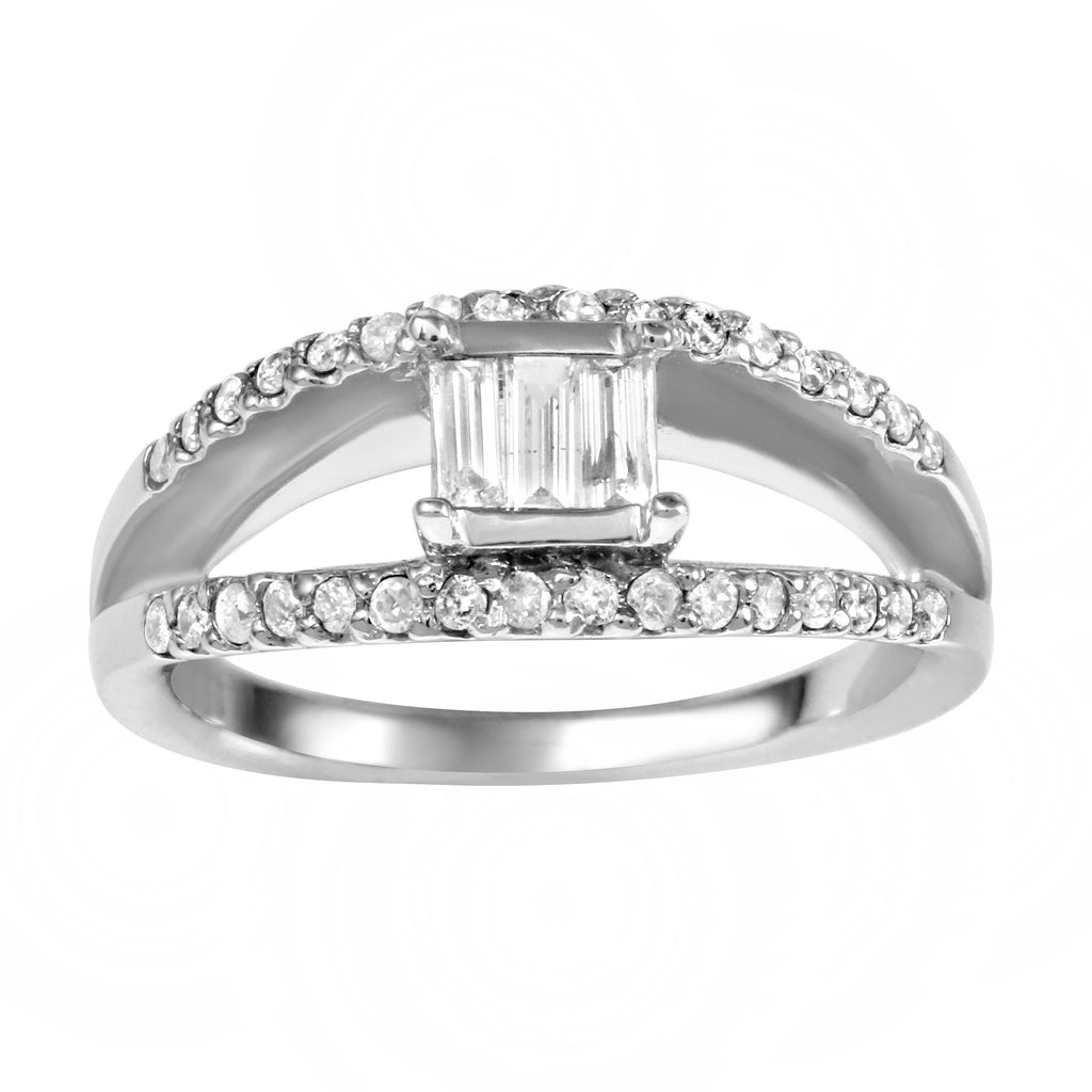 14k White Gold Diamond Wedding Engagement Ring SIZE 6.5
