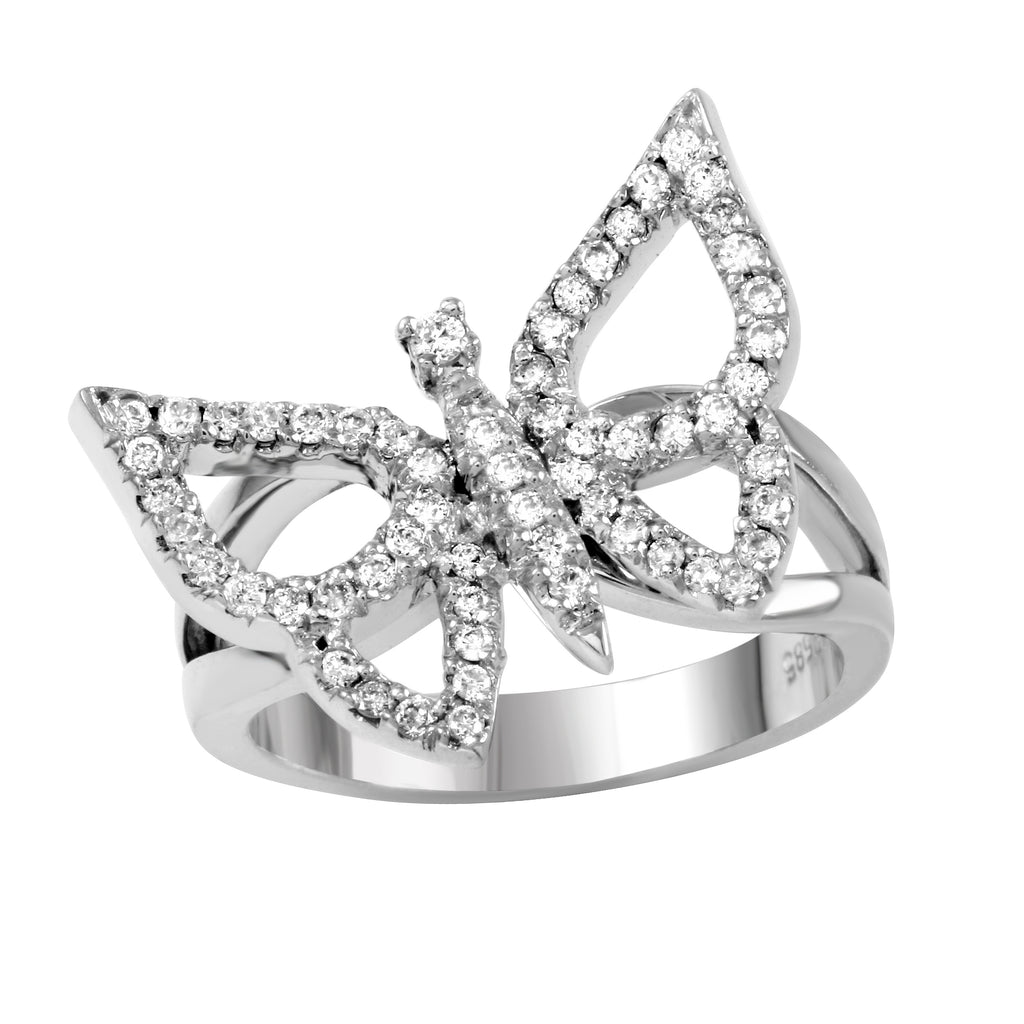 14k White Gold Butterfly Diamond Ring SIZE 7