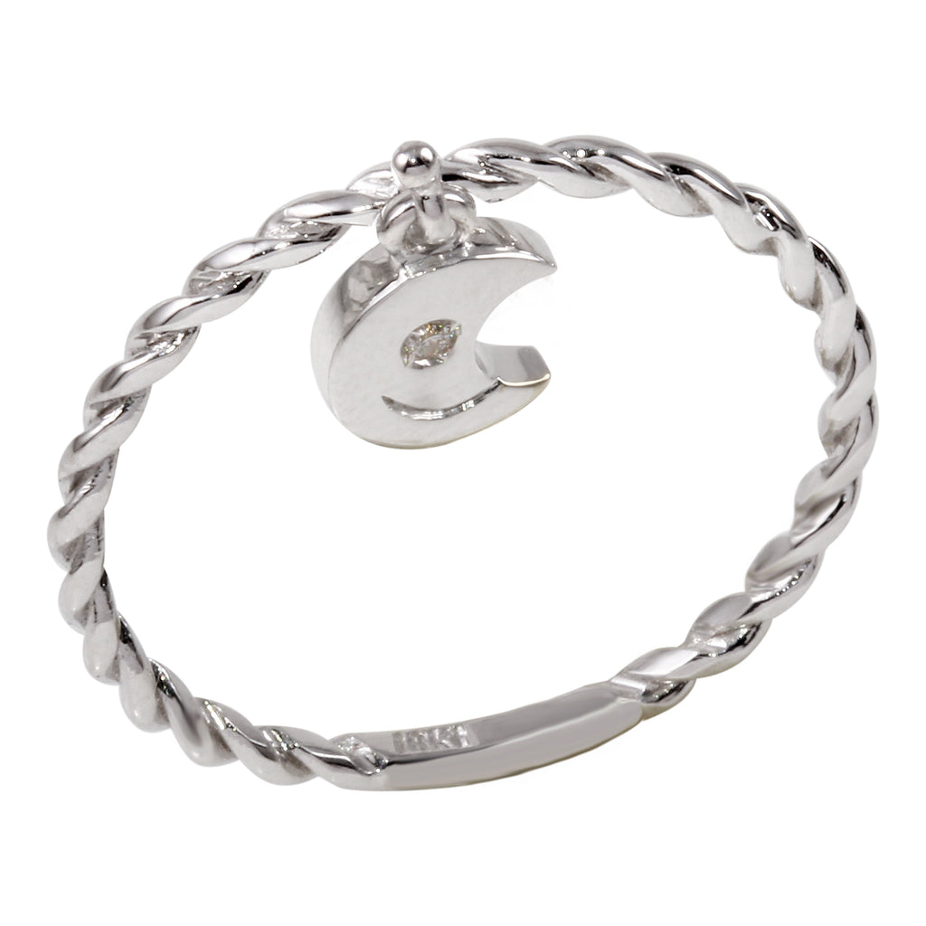 18k White Gold Twisted Band Dangling Moon Charm Diamond Ring