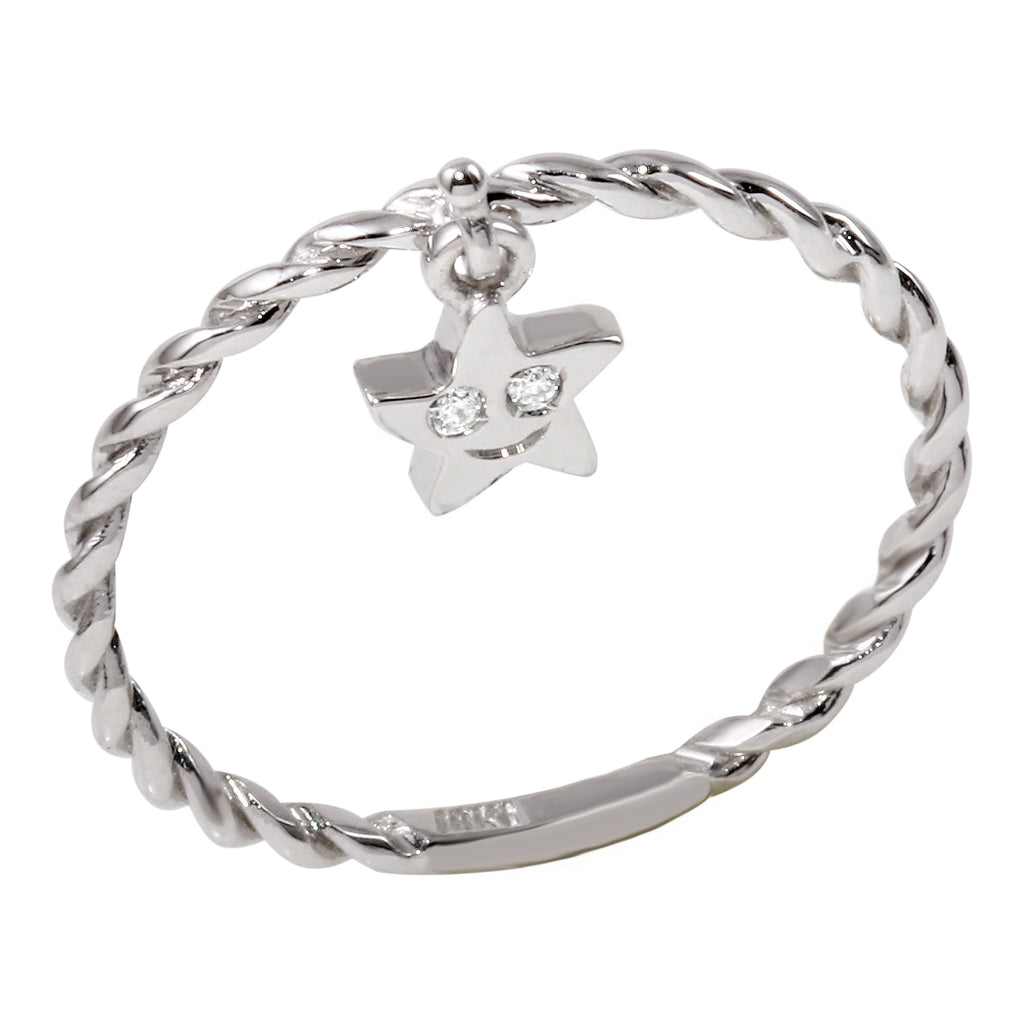 18k White Gold Diamond Star Charm Ring