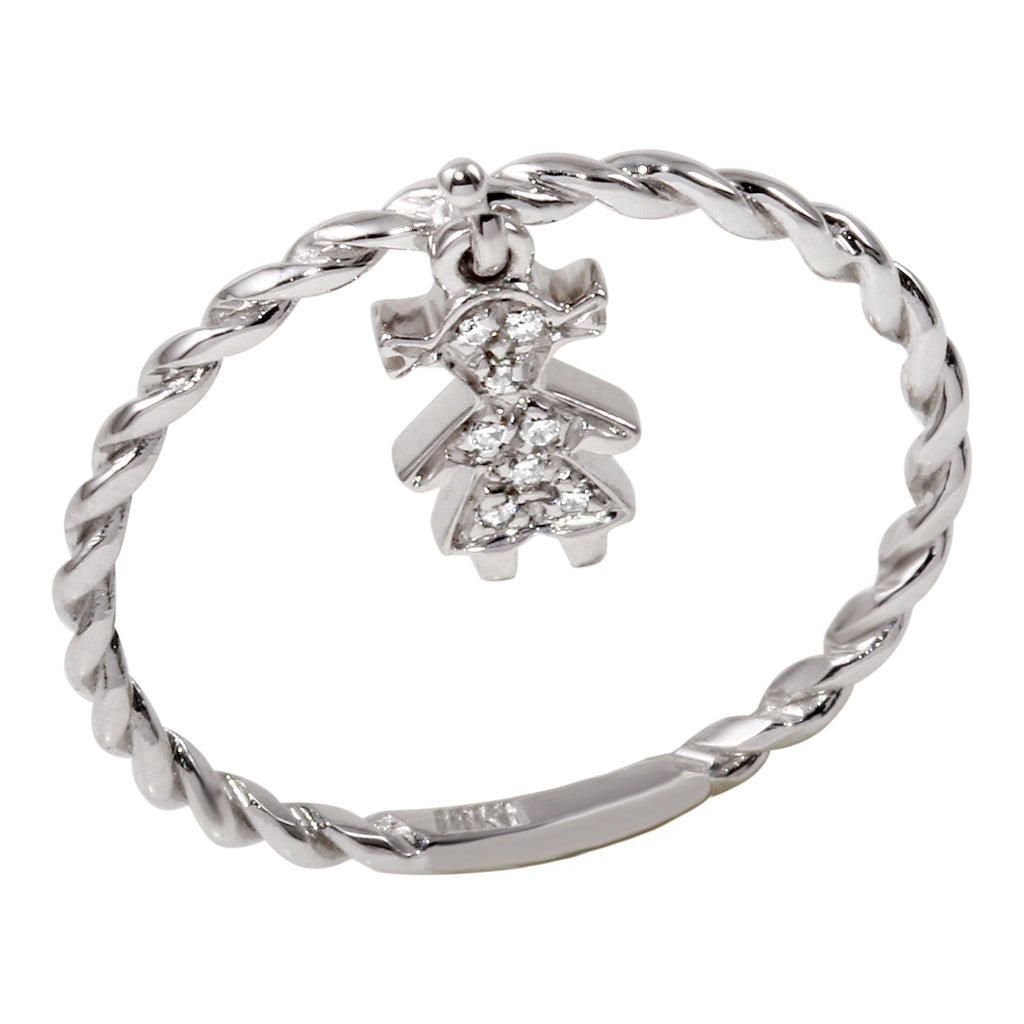 18k White Gold Diamond Girl Charm Ring