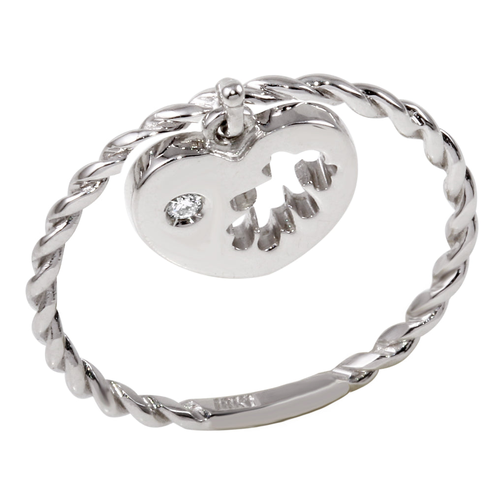 18k White Gold Diamond Heart Charm Ring