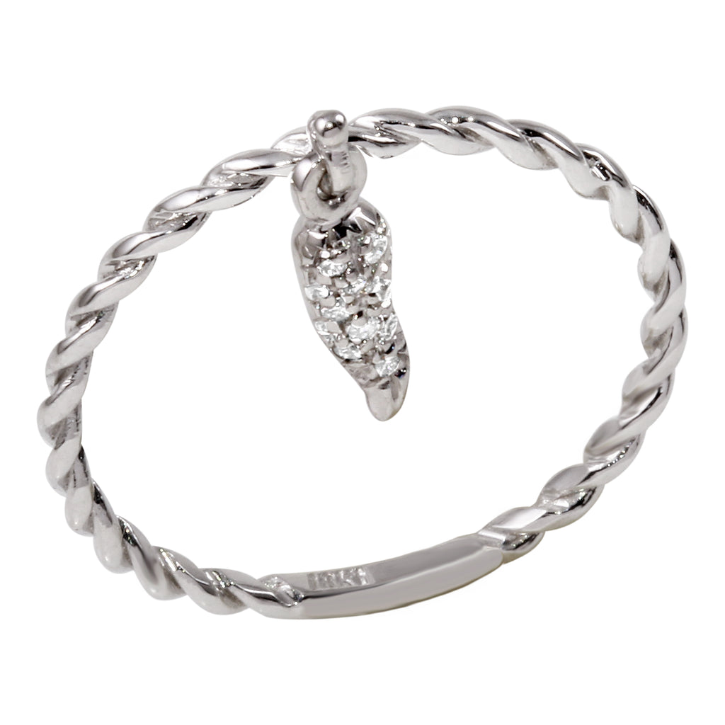 18k White Gold Diamond Pepper Charm Ring