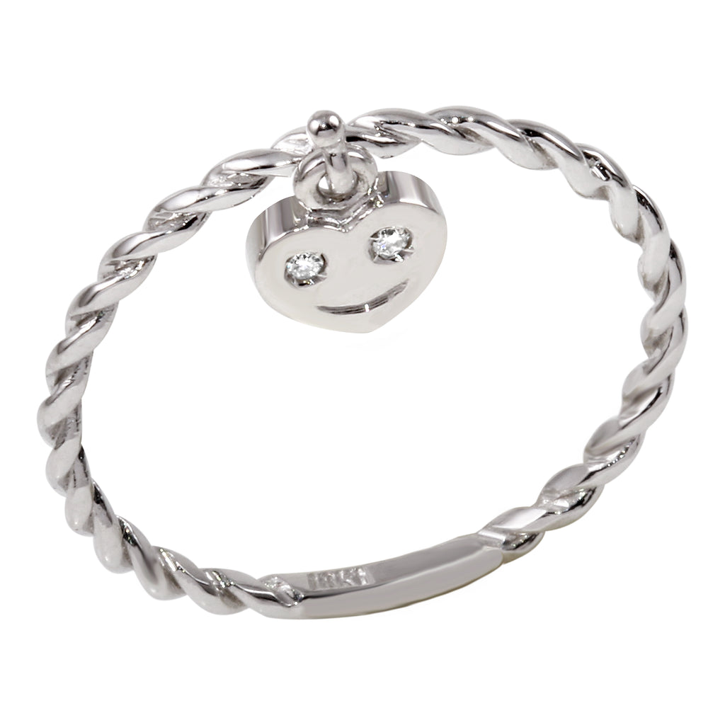 18k White Gold Diamond Happy Heart Charm Ring