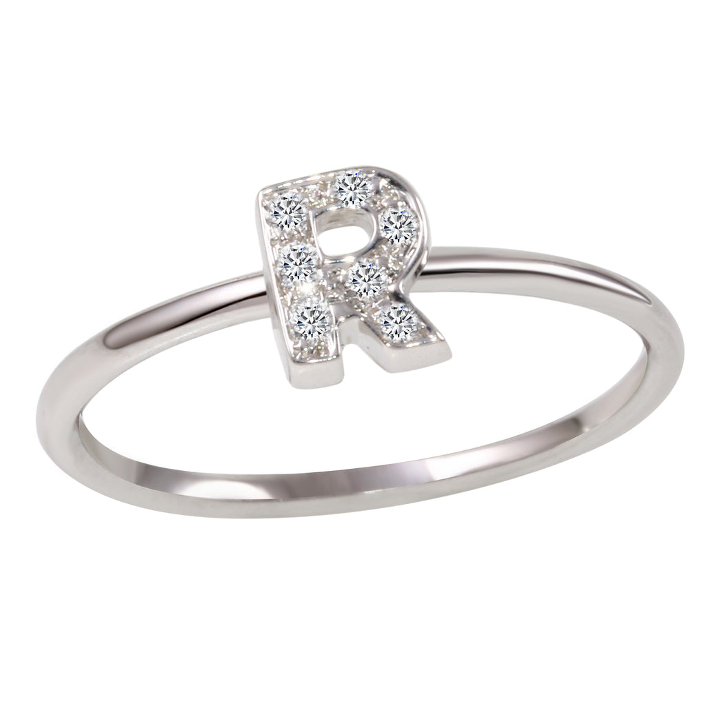 "18k White Gold Diamond Initial ""R"" Ring"