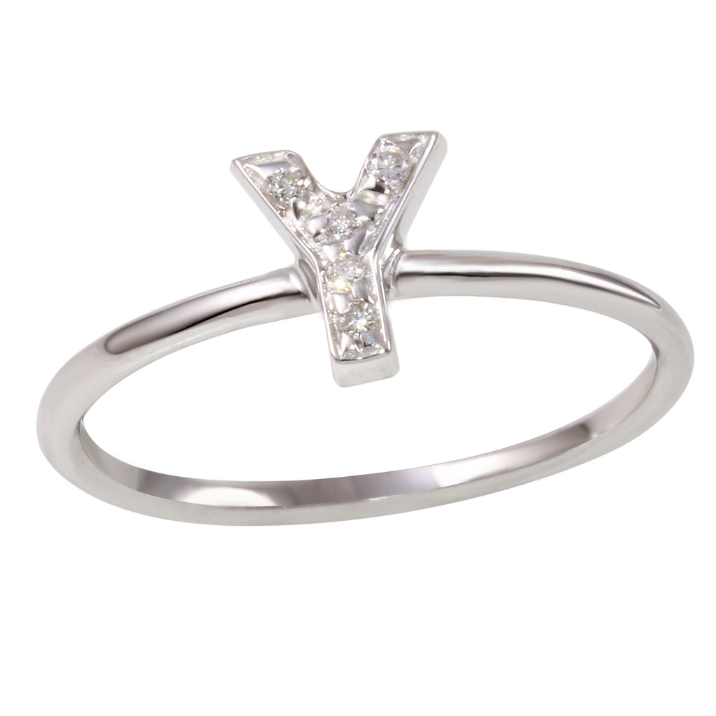"18k White Gold Initial ""Y"" Diamond Ring, Size 6.5"