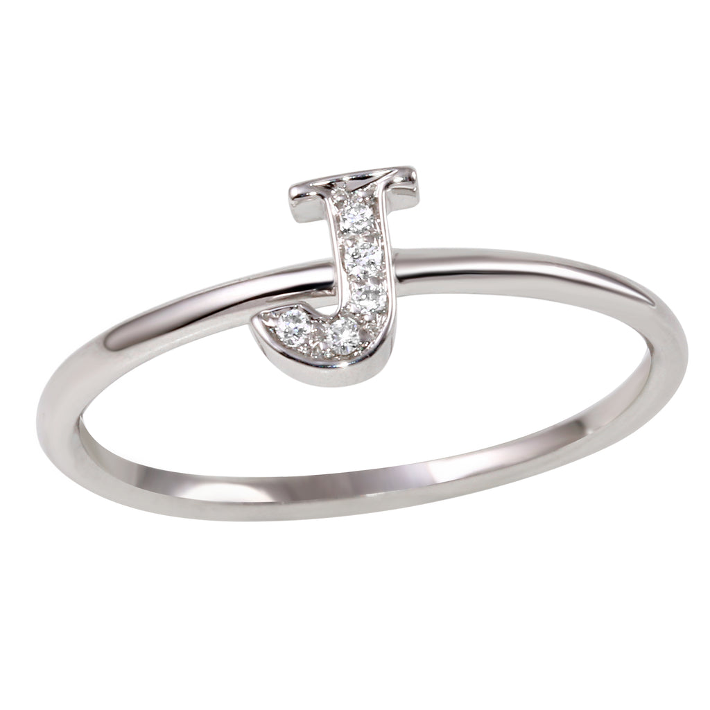 "18k White Gold Diamond Initial ""J"" Ring"
