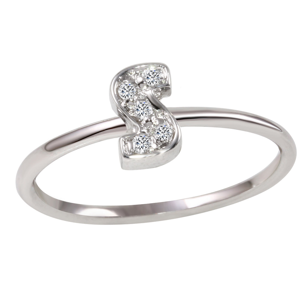 "18k White Gold Diamond Initial ""S"" Ring"