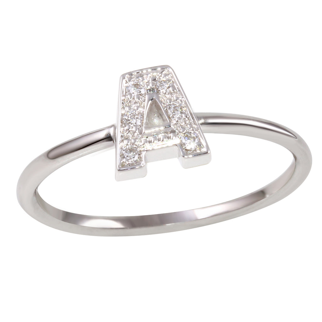 "18k White Gold Initial ""A"" Diamond Ring, Size 6.5"