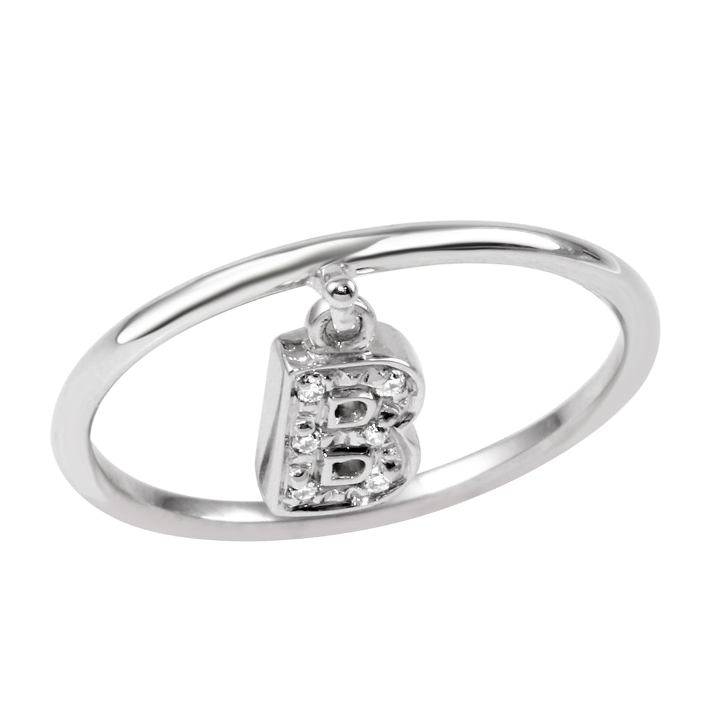 "18k White Gold Diamond Initial ""B"" Ring"