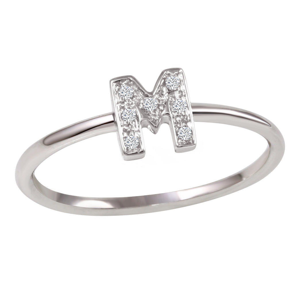 "18k White Gold Diamond Initial ""M"" Ring"